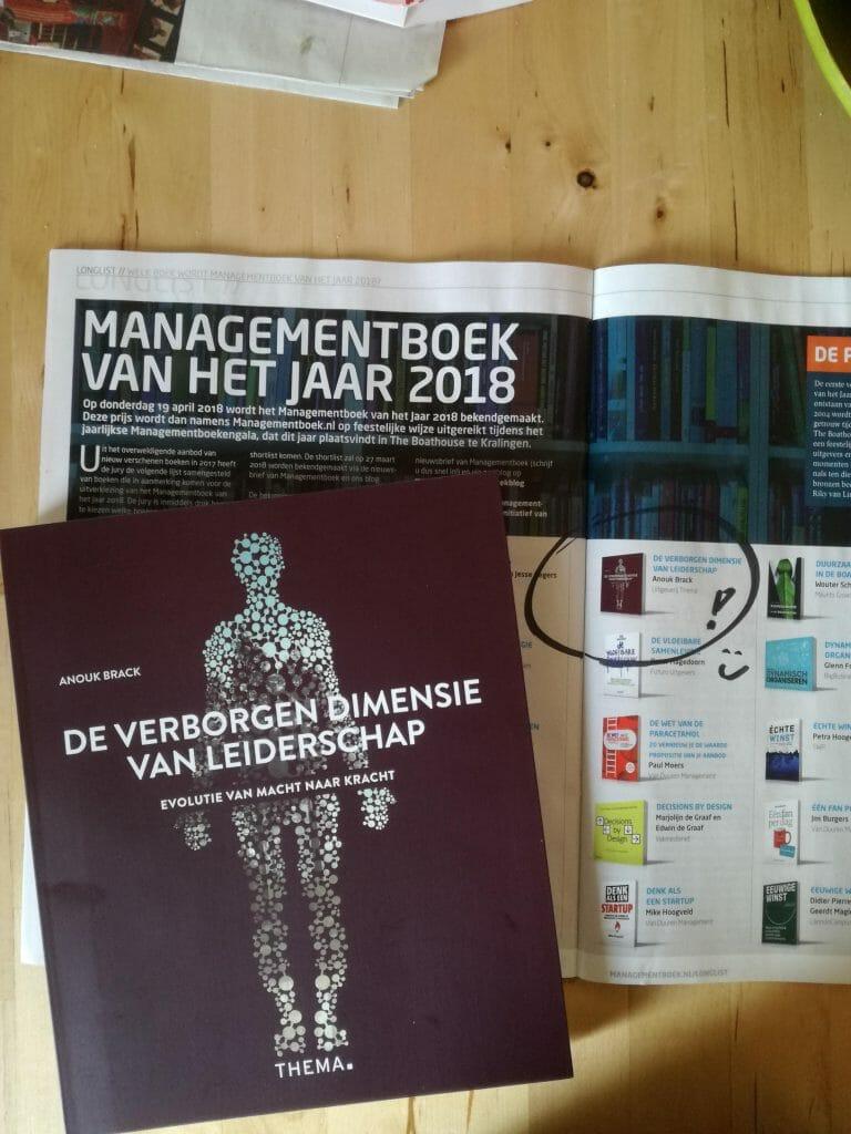 De verborgen dimensie van leiderschap van Anouk Brack op de longlist van Managementboek van het jaar 2018